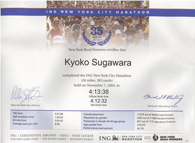 2004年NYCマラソン完走証